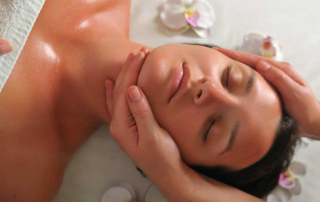 beautiful woman have massage at spa and wellness center